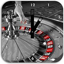 großer Roulette Tisch schwarz/weiß, Wanduhr Quadratisch Durchmesser 28cm mit schwarzen eckigen Zeigern und Ziffernblatt, Dekoartikel, Designuhr, Aluverbund sehr schön für Wohnzimmer, Kinderzimmer, Arbeitszimmer