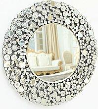 Großer Spiegel zur Wandmontage von Richtop, mit rundem, silberfarbenem Glitzermosaik, Heimdeko, für Wohnzimmer und Schlafzimmer, 70 x 70 cm