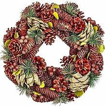 Großer Tür-, Advents- Weihnachtskranz aus Tannenzapfen in Rot & Grün Ø 34cm