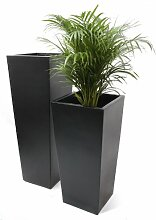 Großer Übertopf aus Fiberglas - schwarz, matt - M
