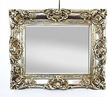Großer Wandspiegel Antik Silber mit Facettenschliff, Barock Spiegel 75x85 cm Garderobenspiegel Frisierspiegel Ankleidespiegel