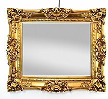 Großer Wandspiegel Barock Gold mit Facettenschliff, Spiegel Antik 50x60cm Garderobenspiegel Frisierspiegel Ankleidespiegel