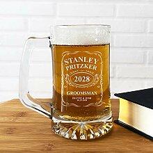 Großes Bierglas, Bierkrug und Gläser, gravierter