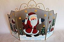 Großes, dekoratives Kaminschutzgitter aus Metall mit Weihnachtsmann, Vögeln und Schneemann