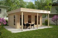 Großes Gartenhaus mit Vordach Ian E 18m² / 58mm