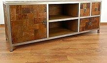 Großes Java Sideboard aus Metall und Teakholz | TV-Bank im Industrial Design | Asiatische Möbel der Marke Asia Wohnstudio | Asia TV-Bank | Teakholz Sideboard (Handarbeit)