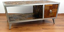 Großes Java Sideboard aus Metall und Teakholz | TV-Bank im Industrial Design | Asiatische Möbel der Marke Asia Wohnstudio | Asiatischer Couchtisch | Teakholz Sideboard (Handarbeit)