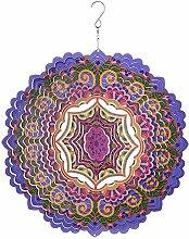 Großes Metall-Windspiel, Sonnenfänger, zum Aufhängen, Garten-Ornament, Chakra, violett, 30,5cm