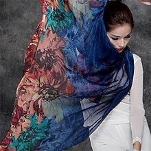 Großes Muttertagsgeschenk- Silk Schal Sonnenschutz Schal Wunderschöne weibliche Schal Schal Sunny Long Beach Handtuch ( Farbe : D )