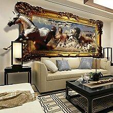 Großes nahtloses 3D Stereo Wandgemälde Wohnzimmer TV Sofa Hintergrund Wandtuch Schlafzimmer Tapete Pferd Galopp XL XXL XXXL , xxl