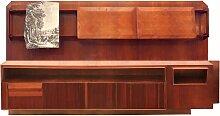 Großes Wand Bücherregal aus Mahagoni und Ahorn,