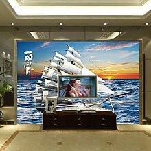 Großes Wandbild 3D Segelyacht Fototapete Vlies