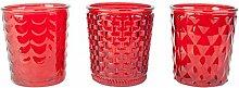 Großes Windlicht Teelichtalter 3er Set aus Rotem Glas