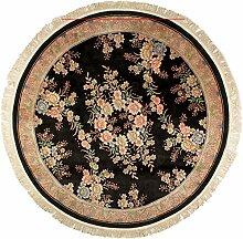 Großteppich Blumen Relief rund China ca. 275 x 275 cm · Schwarz · handgeknüpft · Schurwolle · Klassisch · hochwertiger Teppich · 13225
