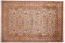 Großteppich Kaschmir mit Kunstseide Indien ca. 275 x 185 cm · Braun · handgeknüpft · Schurwolle mit bis zu 5% Kunstseide (Viskose) · Klassisch · hochwertiger Teppich · S098549