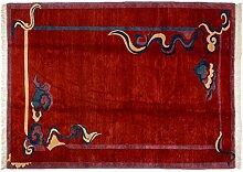 Großteppich Nepali Tibet ca. 290 x 210 cm · Rot · handgeknüpft · Schurwolle · Modern · hochwertiger Teppich · 15387