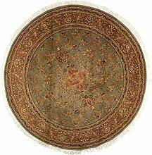 Großteppich Sarough rund Indien ca. 245 x 245 cm · Braun · handgeknüpft · Schurwolle · Klassisch · hochwertiger Teppich · 15383