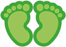 (Grün) 10 Stück Fußbodenaufkleber Kinderfüße
