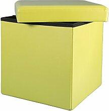grün 38x38x38 Faltbarer Sitzhocker Sitzwürfel Aufbewahrungsbox gepolsterter Hocker Puff Sitzmöbel modern schick