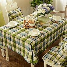Grün blau Tischdecken Baumwolle leinen Pastorale Stil Esstisch Rezeption rechteckigen Square nicht bügeln umweltfreundlich garten Tischtuch