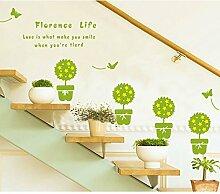 Grün Blumentöpfe Blumen Schmetterlinge Wandtattoo House Aufkleber abnehmbarer Wohnzimmer Tapete Schlafzimmer Küche Art Bild Wandmalereien Sticks PVC Fenster Tür Dekoration + 3D Frosch Auto Aufkleber Geschenk