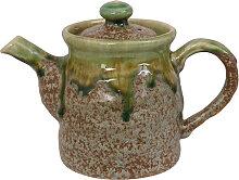 Grün / Braun Handgemachte Teekanne mit