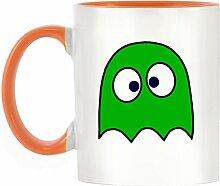 Grün Drunken Ghost Design bicolor Becher mit Henkel Orange & Innen