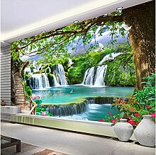 Grün Großer Baum Wasserfall Natur Landschaft