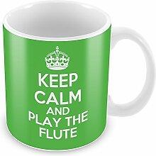 Grün Keep Calm and Play die Flöte Becher Kaffee Tasse Geschenkidee Geschenk Musik
