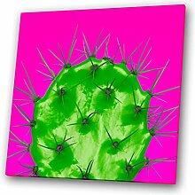 Grün, Rosa Neon Cactus Modernes abstraktes