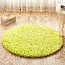 Grün runde teppich / computer stuhl matte / drehstuhl korb hängesessel verdickung schutz teppich / kinder schlafzimmer nacht wohnzimmer studie schreibtisch rutschfeste matte ( größe : Diameter 80cm )