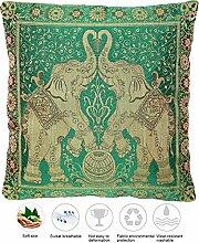 Grün Seide Kissenbezug mit Elefanten design |
