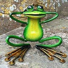 Grün sitzender Frosch, Metall Decor Ornament
