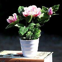 Grün Und Blau - Grüne Pflanzen Eingetopft Und Home Decor Zubehör Simulation Tabelle Blume Gardenia Mit Becken - Simulation,Pink