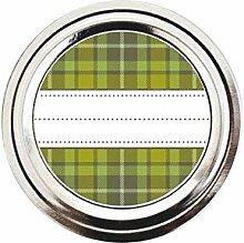 Grün und Braun Plaid Muster Mason Jar Etiketten