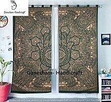 Grün und Gold Hamsa Hand gewoben Fenster Zuhause,