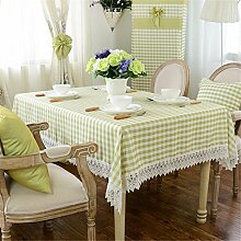 Grün Weiß Kariert Spitze Tischdecken Baumwolle leinen Modern minimalistisch Esstisch Rezeption rechteckigen Square nicht bügeln umweltfreundlich garten Tischtuch
