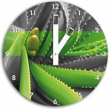 grüne Aloe Vera Pflanze schwarz/weiß , Wanduhr