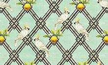 Grüne, edle Vogel Tapete: Été c'est moi mit Retro Kakadus und Grapefruits - Vlies Tapete Ornamente Tiere - Klassische Wanddeko - GMM Design Tapete - Wandtapete - Wand Dekoration für edle Wohnakzente (Höhe 2,6m Breite 46,5cm)