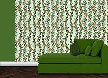 grüne, elegante Tapete: Die Apfelkirsche mit Vögeln, Blüten und Kirschen für Gartenfreunde - Vlies Tapete Blumen Obst Tiere - Klassische Wanddeko - GMM Design Tapete - Wandtapete - Wand Dekoration für edle Wohnakzente (um Wände halb hoch zu tapezieren H: 1,5m B: 46.5cm)