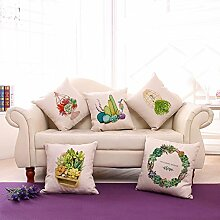 Grüne frische Pflanze gedruckt Leinen / Baumwolle