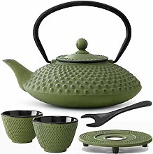 grüne gusseiserne Asia Teekanne 1.25 L Set mit