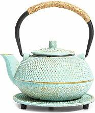 Grüne japanische Teekanne aus Gusseisen mit