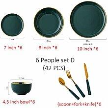 Grüne Keramik Goldplatte Essen Teller Geschirr