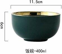 Grüne Keramik Goldplatte Food Plate Geschirr