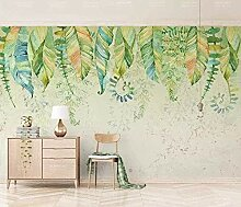 Grüne Pflanze verlässt Aquarell Vintage Tapete