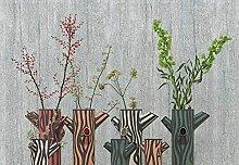 Grüne Pflanze Vintage Flowerpotted Murals 3D