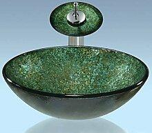 Grüne Runde gehärtetes Glas Waschbecken und Wasserfall Wasserhahn, Pop-Drain und montieren Sie den ring