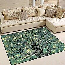 Grüne Tie Dye Lebensbaum Bereich Teppich 4 'x