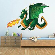 Grüner Drache Wandaufkleber Monster Wandtattoo Kinder Schlafzimmer Haus Dekor Erhältlich in 8 Größen Extraklein Digital